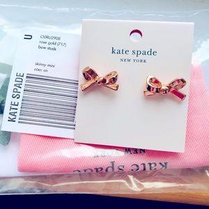 Kate Spade   NWT Rose Gold Skinny Mini Bow Studs
